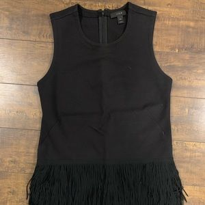 J Crew Black Fringe Tank Top